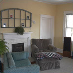 Living Room with Hardwoods & Fireplace Mantle